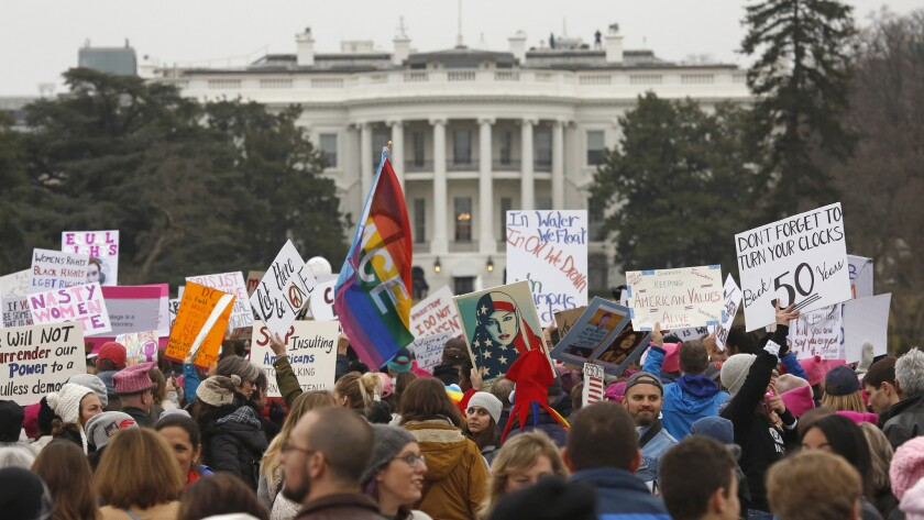 People gathered Saturday near the White House in Washington to march for women's rights.