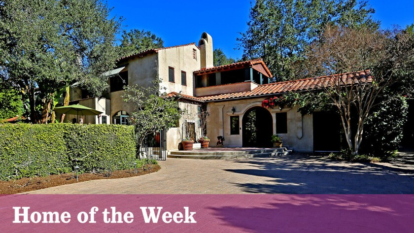 The Spanish Colonial Revival-style house in South Pasadena sits on nearly an acre of park-like grounds with mature trees, gardens, front and rear patios and a swimming pool. A carriage house, with vaulted ceilings and detailed brickwork, was designed by Marston, Van Pelt & Maybury and sits adjacent to the main house.