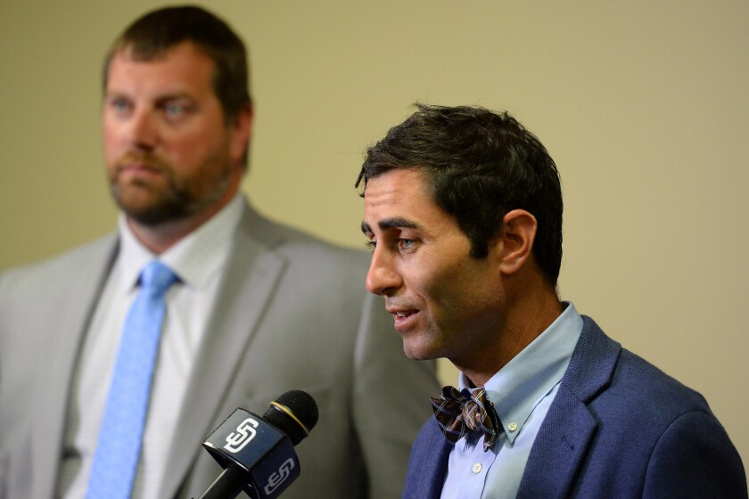 Padres General Manager A.J. Preller and scouting director Mark Conner address the media during the MLB draft at Petco Park on June 12, 2017.