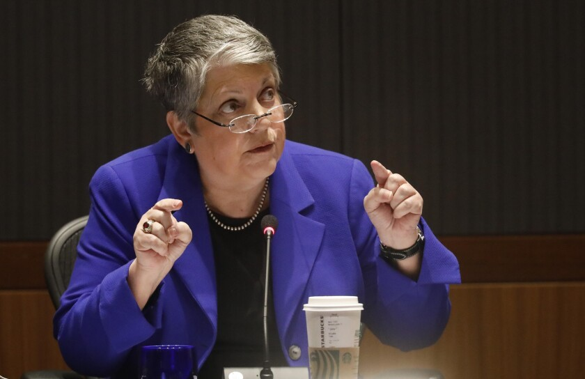 Janet Napolitano is stepping down as University of California president.