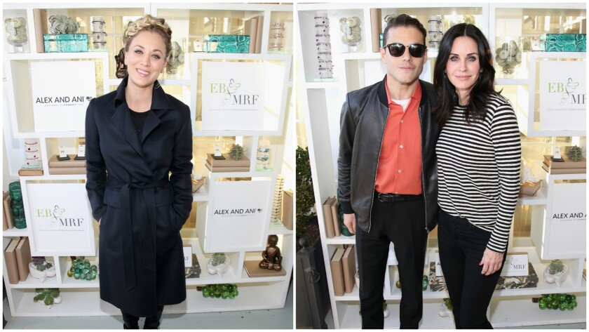 Kaley Cuoco, left, attends Saturday's Rock 4 EB!, a benefit event for the Epidermolysis Bullosa Medical Research Foundation; (right) Rami Malek and Courteney Cox join the festivities at the Malibu event.