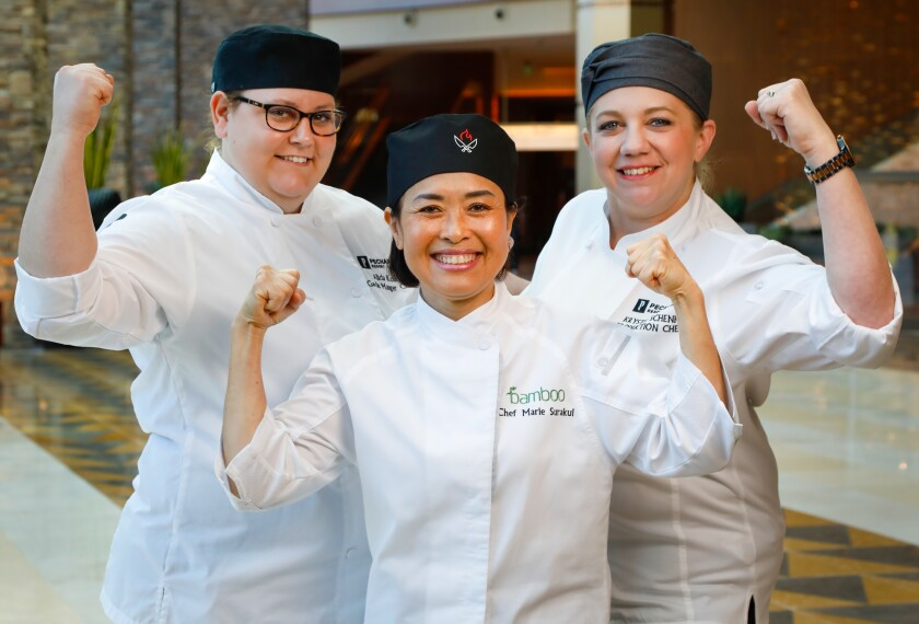 Pechanga Resort & Casino recently promoted (from left) Alicia Kolk, garde manger chef, Marie Surakul, Bamboo chef and Krystle Schenk, Pechanga Buffet chef, to the position of head chef of their respective department/restaurants. All three had the same advice for up-and-coming female chefs: be strong and keep fighting.