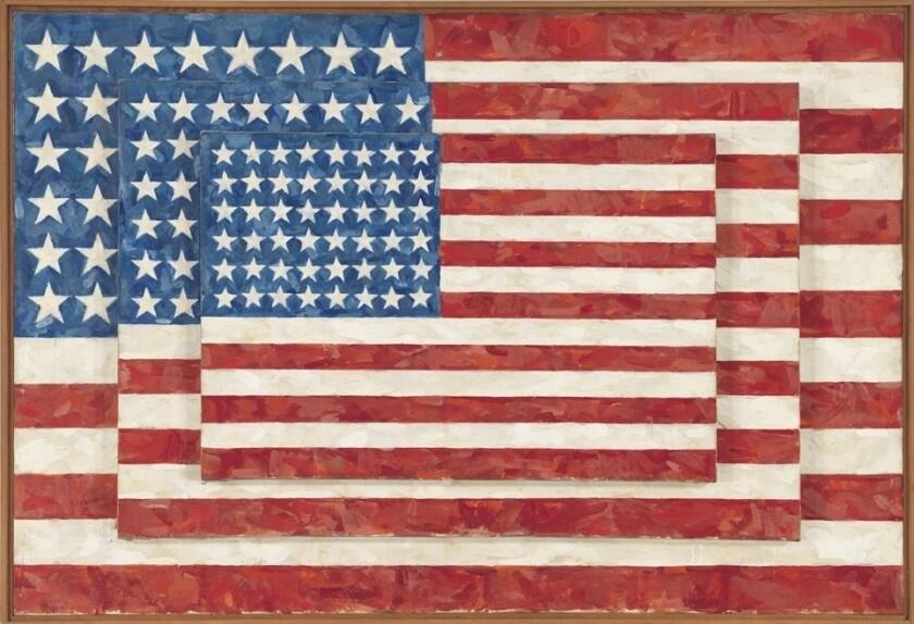 "Jasper Johns, ""Three Flags,"" 1958. Encaustic on canvas."