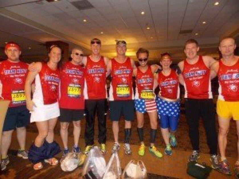 Randy Rechs (center, in hat) with Team Hoyt before the Boston Marathon.
