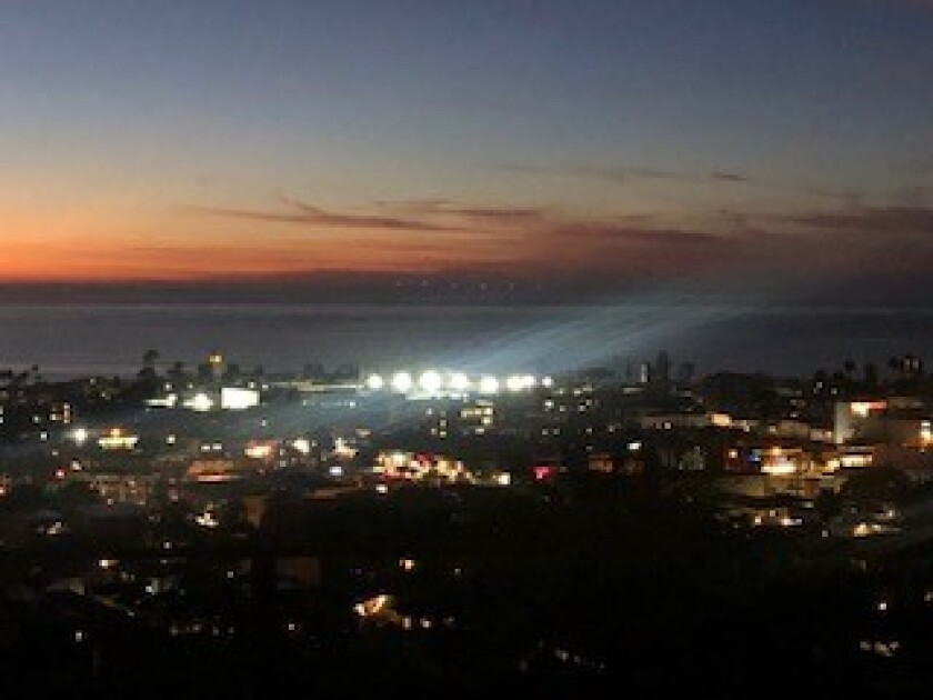 """A view of the La Jolla Tennis Club from John Johnson's house. He says the club's lights are """"obtrusive."""""""