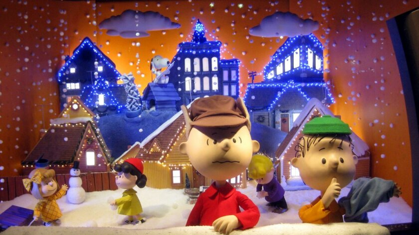 The Peanuts gang takes center stage in a window at Macy's in New York.