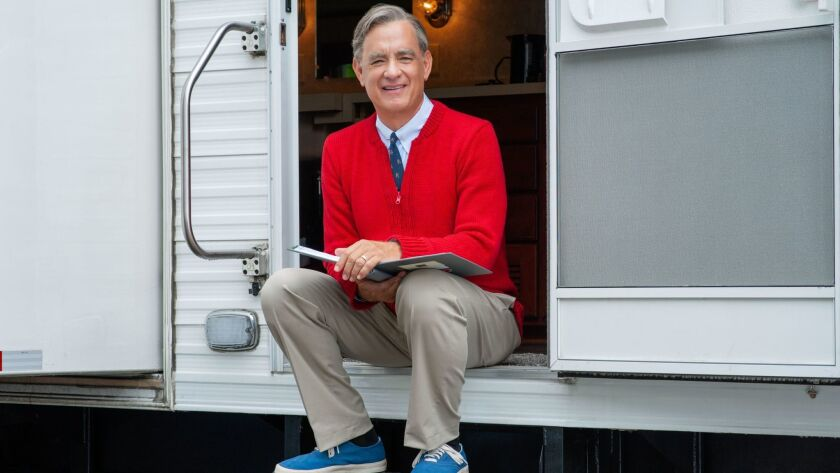 "Tom Hanks portrays the late Fred Rogers in Sony's ""A Beautiful Day in the Neighborhood."""