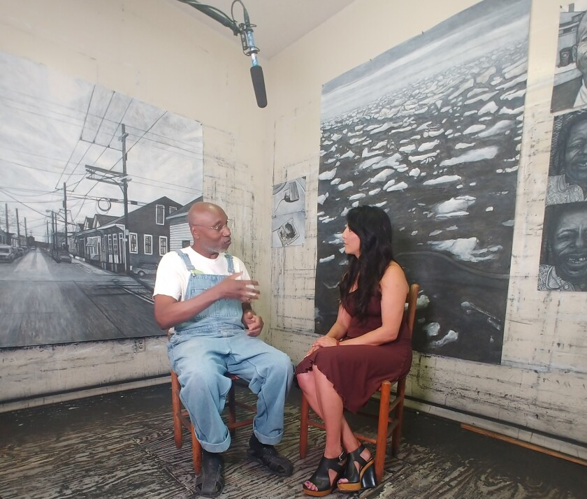 "New Orleans artist Willie Birch shares his life's story with San Diegan Ruth-Ann Thorn for ""Art of the City."""