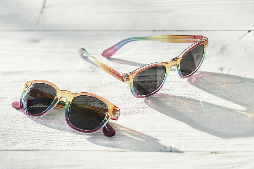 Photograph of rainbow-hued sunglasses.