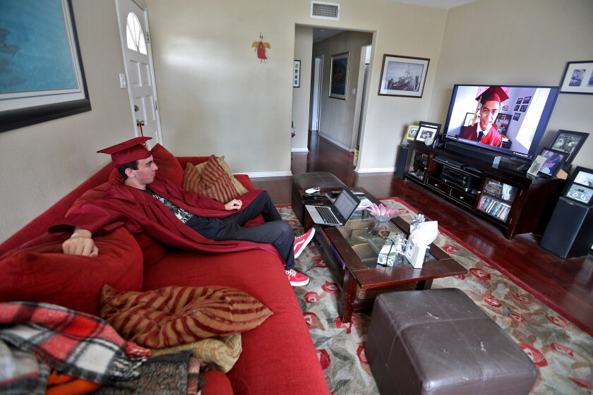 Estancia High graduate Michael Finicum watched the ceremony on television at home in Costa Mesa.