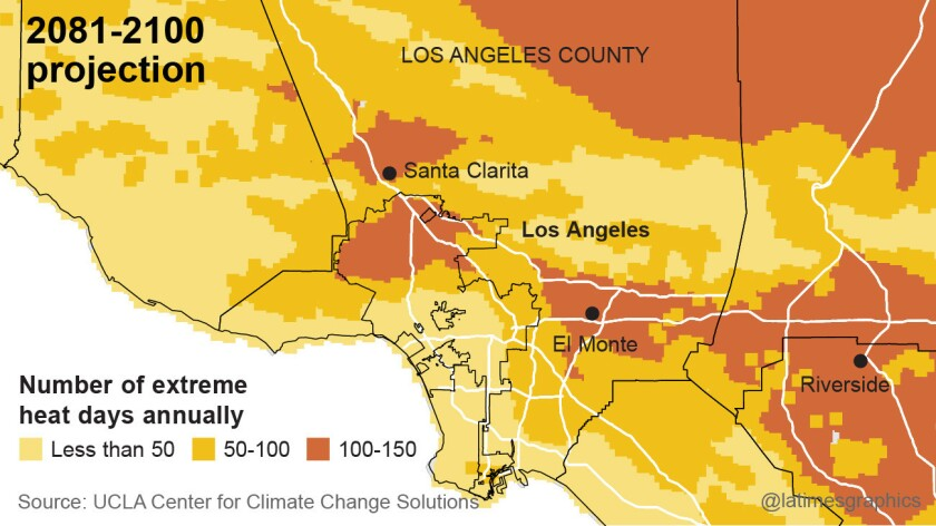 """More than 100 days of extreme heat a year could be the norm in the San Fernando and San Gabriel valleys. """"Extreme heat days"""" are days where the temperature exceeds 95 degrees."""