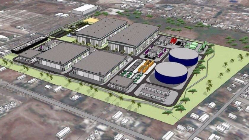 Rendering of planned desalination plant in Rosarito Beach.