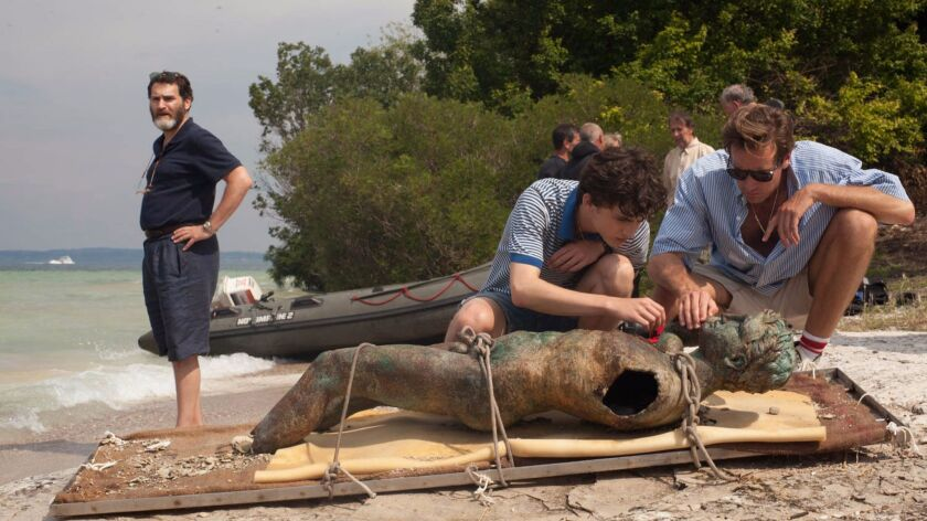 """Michael Stuhlbarg, Timothee Chalamet and Armie Hammer appear in """"Call Me by Your Name."""""""