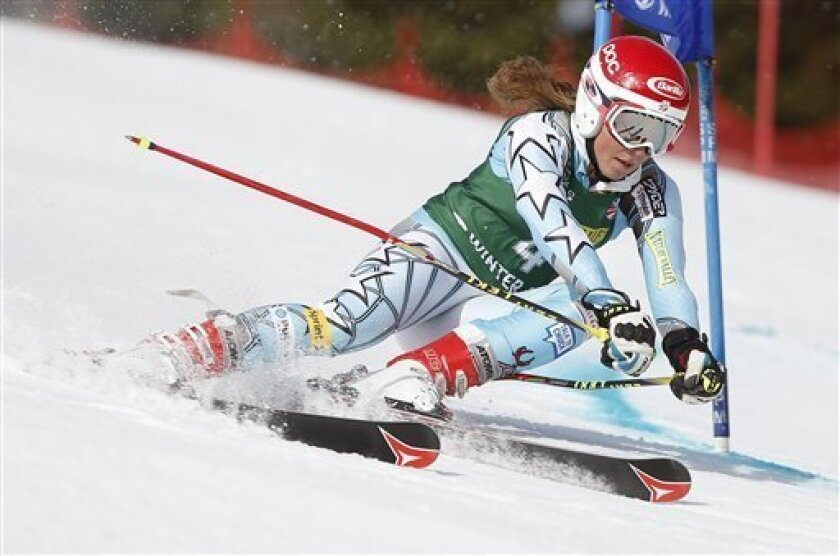 Mikaela Shiffrin makes her run during the women's giant slalom skiing event during the U.S. Alpine Championships Saturday, March 31, 2012, in Winter Park, Colo. (AP Photo/Jim Urquhart)