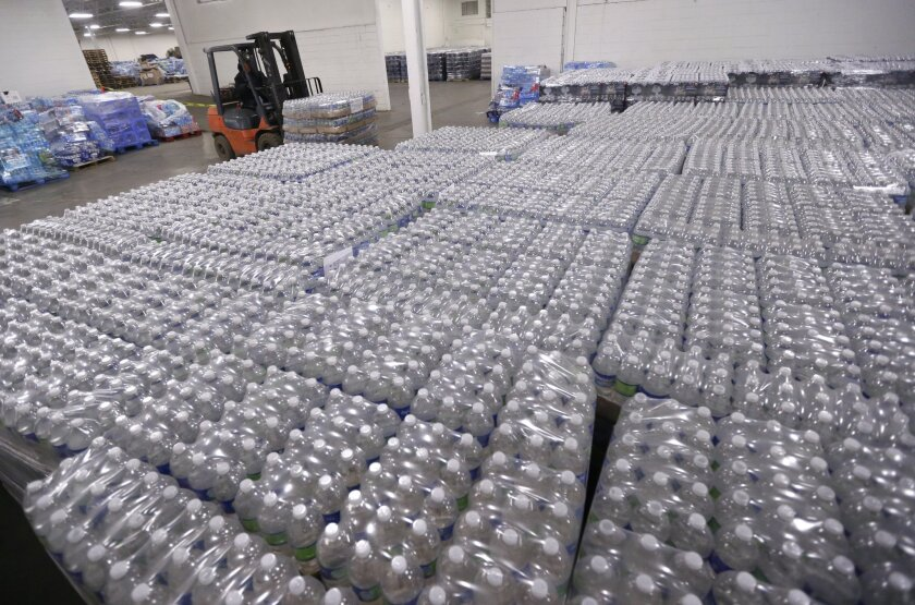 Bottled water in Flint, Mich.