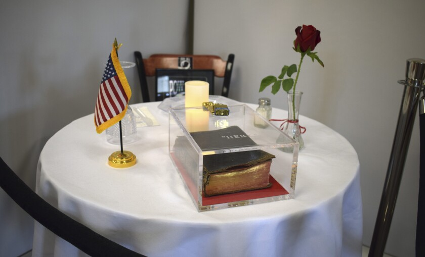 A Bible sits on a memorial table at the VA Medical Center in Manchester, N.H. Its presence has been challenged by a 1st Amendment lawsuit.