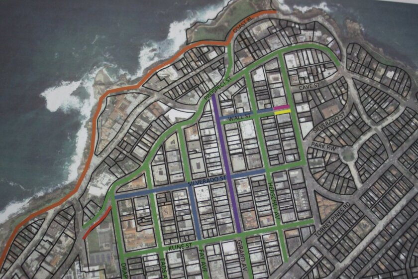 A map of La Jolla's various parking time limits, marked with different colored lines for each regulation.