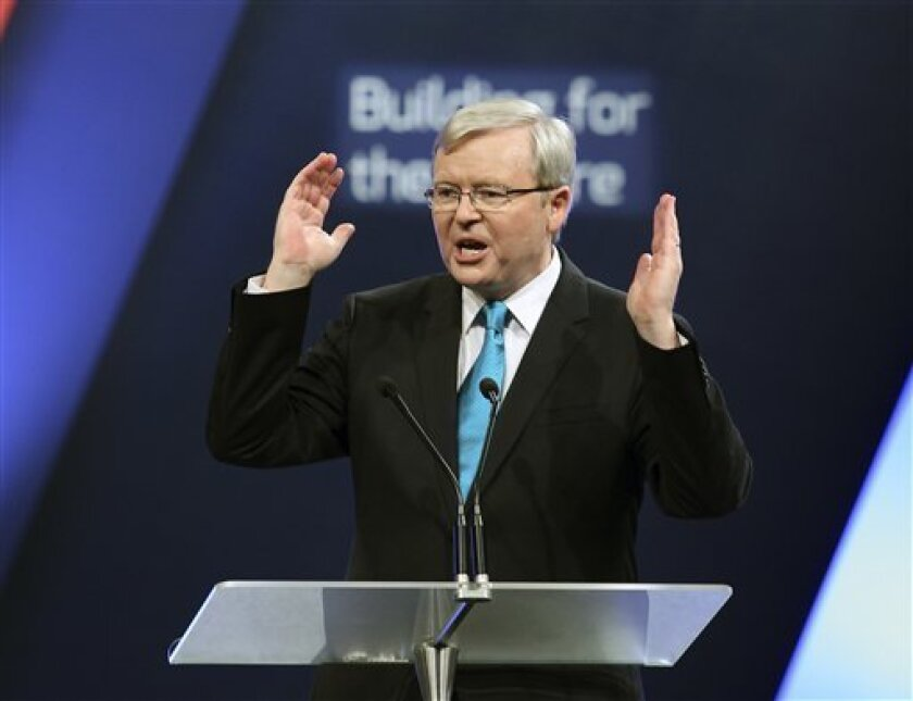 Australian Prime Minister Kevin Rudd speaks to the crowd during the Australian Labor Party's campaign launch in Brisbane, Australia, Sunday, Sept. 1, 2013. Australians head to the polls to vote in national elections on Sept 7.  (AP Photo/Tertius Pickard)