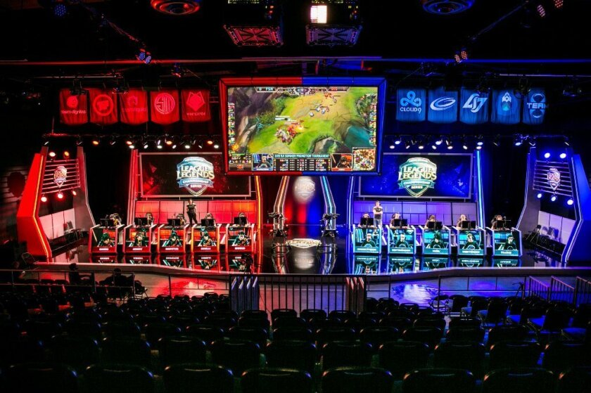 """A broadcasted """"League of Legends"""" tournament at Riot Games studio in Los Angeles. On Tuesday, Riot Games announced it has invested $30 million in voice-communication platform Curse."""