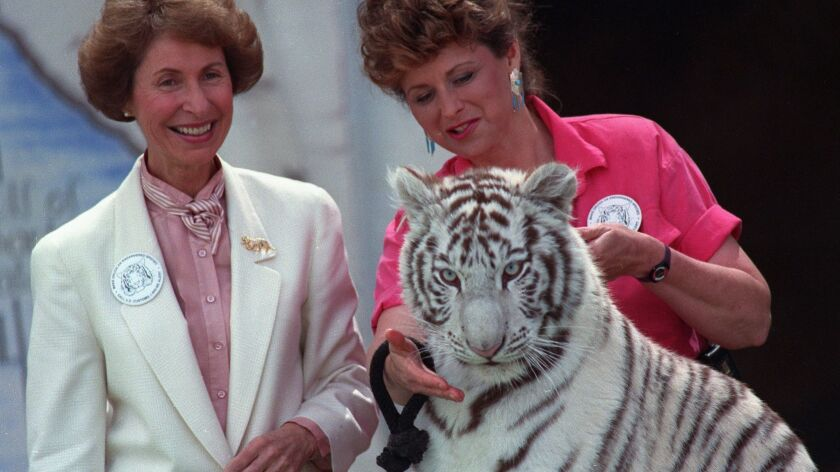 U.S. Customs Commissioner Carol Hallett announces in 1992 that Blanca the tiger, seized from Jorge H