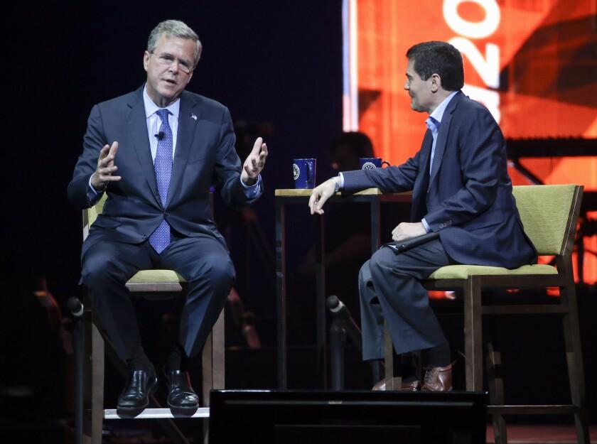 Former Florida Gov. Jeb Bush campaigns in Nashville on Tuesday.