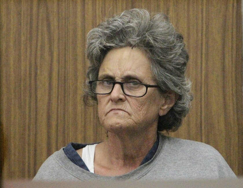 Alyce Copeland, seen here at her arraignment at the Vista courthouse in July 2015, was sentenced this week to 18 years in prison. She pleaded guilty last month to attempted murder for shooting her sister's neighbor on a disputed access road that cuts through her sister's De Luz property. The victim