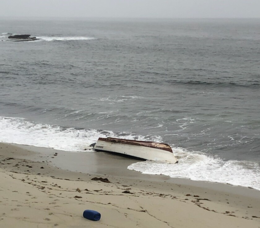 Border Patrol agents found an abandoned panga near Windansea Beach in San Diego early Monday, officials said.