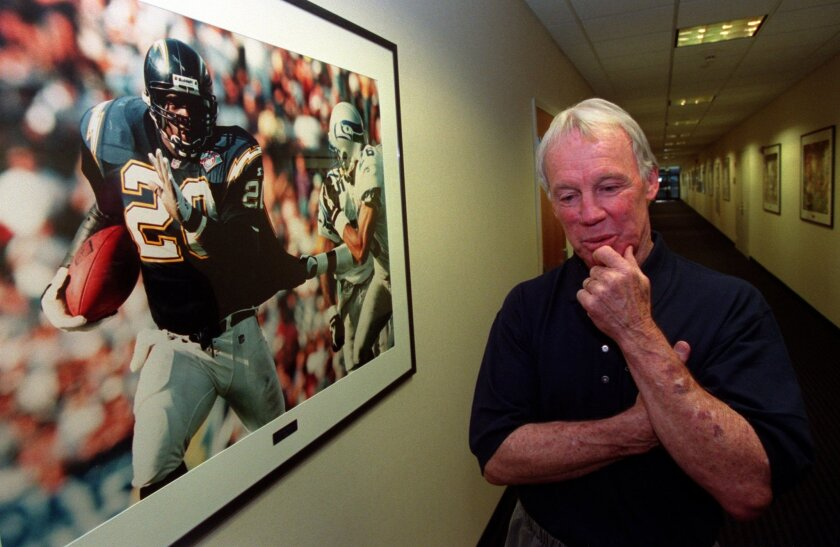 Former Chargers GM Bobby Beathard in the hallway of the Chargers' facility after announcing his resignation.
