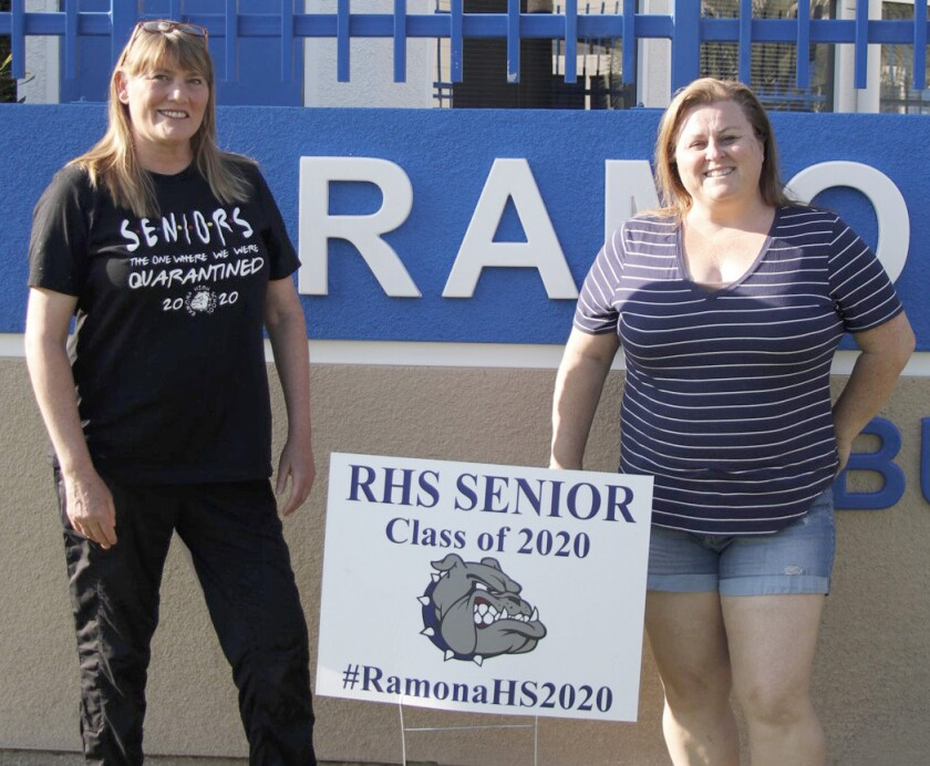 Ramona High School parents Tina Vieceli, left, and Michelle Wrenn are planning surprise gifts from parents to students during the school's May 27 Senior Class of 2020 Drive Thru Celebration. Parent Lura Poggi, not pictured, is also involved in planning the surprise.