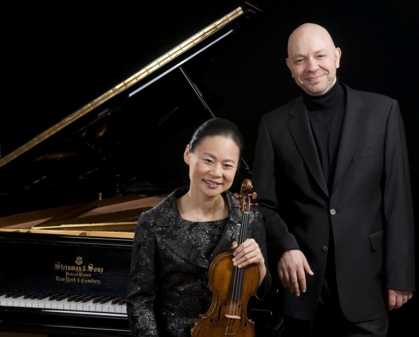 Violinist Midori and pianist Özgür Aydin come to UC San Diego's Prebys Hall Oct. 1. Angela Jimenez