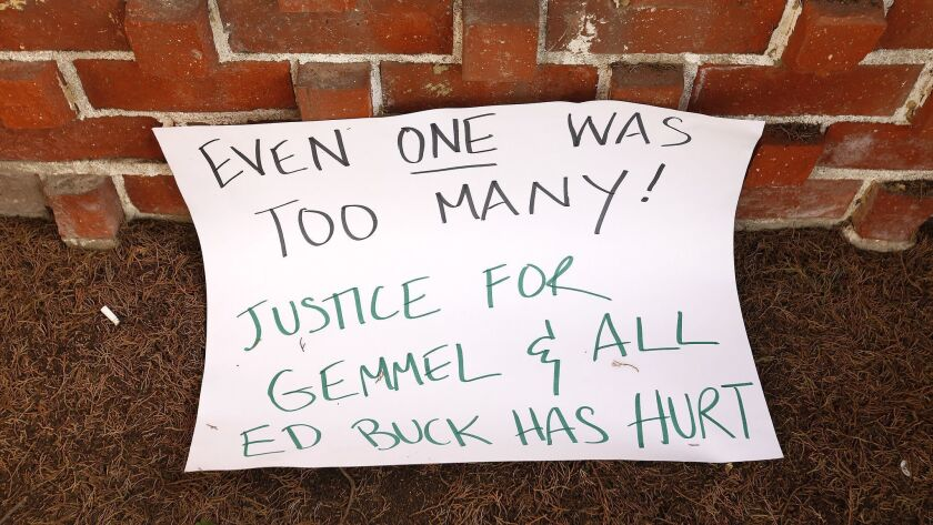 This sign was left at the front door of West Hollywood political activist Ed Buck. In the last two years, two black men, Gemmel Moore and Timothy Dean, have died in Buck's home.