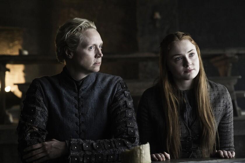 "Brienne of Tarth (Gwendoline Christie) and Sansa Stark (Sophie Turner) discuss their next military plans in ""The Door."""