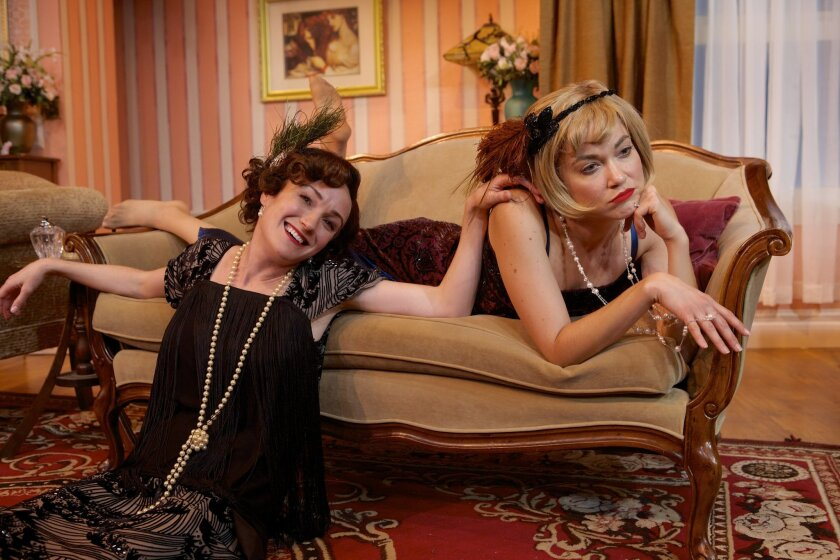 """Joanna Strapp as Julia and Summer Spiro as Jane in North Coast Repertory Theatre's """"Fallen Angels."""""""