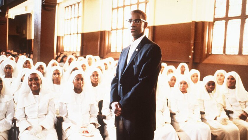 "Denzel Washington in the 1992 movie ""Malcolm X."""