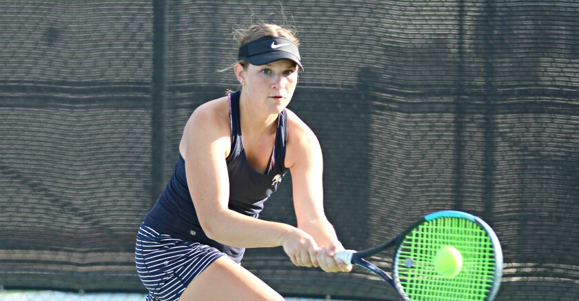 Senior Lauren Bear teamed with Kennedy Urcelay to sweep their three doubles matches for SDA.