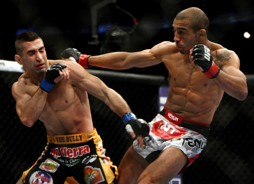 Ricardo Lamas, left, faces Jose Aldo in UFC 169 in Newark, N.J., a bout that Aldo won by unanimous decision. Lamas will fight Chan Sung Jung at UFC 214 in Anaheim.
