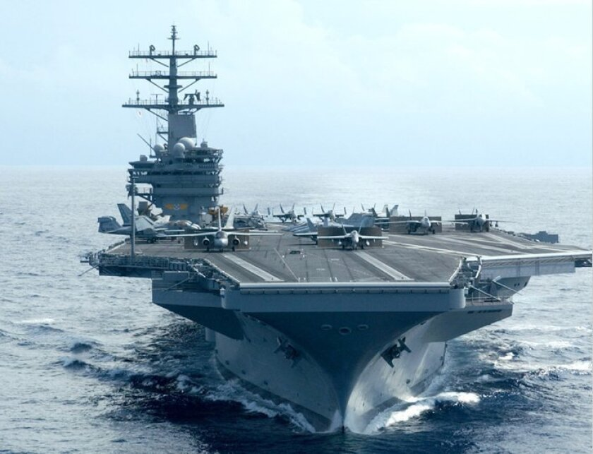 The carrier Reagan is scheduled to undergo a major overhaul this year in Bremerton, Washington.
