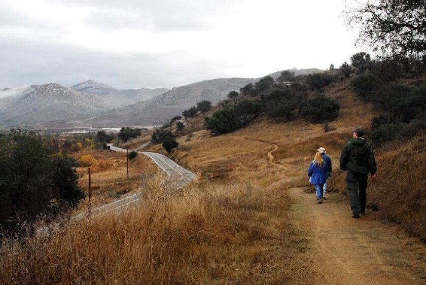 The Highland Valley Trail in San Dieguito River Park follows Highland Valley Road.