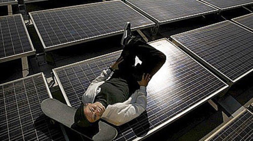 PIERRE ANDRÉ SENIZERGUES: The ex-skateboard champ on the solar-paneled roof of his firm, which he's taking green