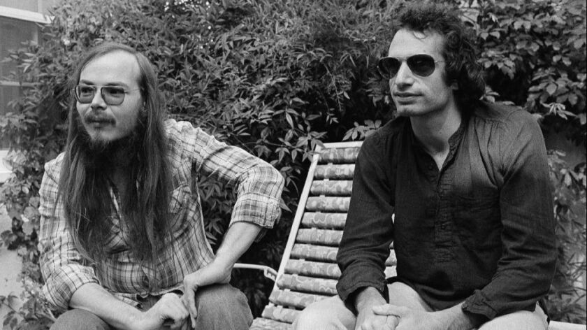 Steely Dan's Walter Becker (left) and Donald Fagen are shown in 1977.