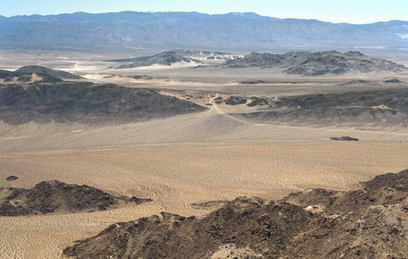 Trails used by off-road vehicles go through Johnson Valley west of the Twentynine Palms Marine combat training base. For a decade, the Marine Corps and off-roaders have argued about who should be able to use the area.