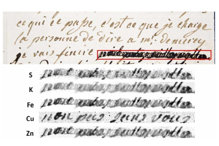 """This image provided by researchers shows a section of a letter dated Jan. 4, 1792 by Marie-Antoinette, queen of France and wife of Louis XVI, to Swedish count Axel von Fersen, with a phrase (outlined in red) redacted by an unknown censor. The bottom half shows results from an X-ray fluorescence spectroscopy scan on the redacted words. The copper (Cu) section reveals the French words, """"non pas sans vous"""" (""""not without you""""). (Anne Michelin, Fabien Pottier, Christine Andraud via AP)"""