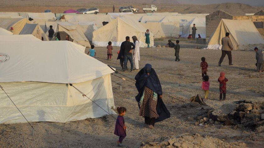 A makeshift camp in Takhar province for Afghans displaced by ongoing fighting against Taliban militants.