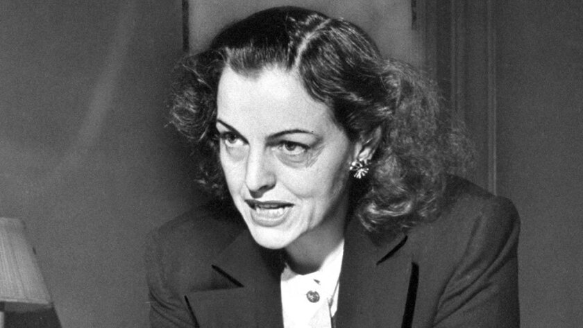 Helen Gahagan Douglas speaks during a news conference in 1950.