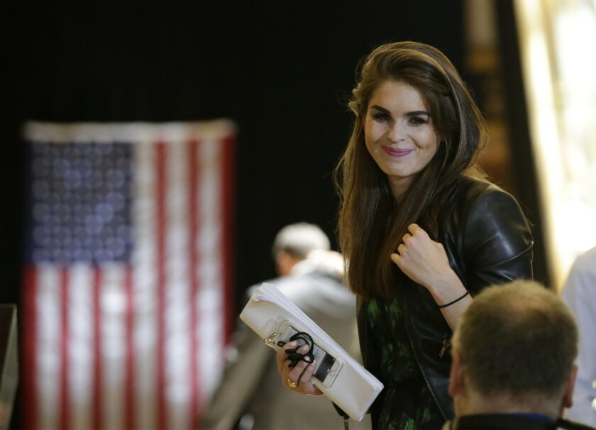 Hope Hicks at a press conference during Donald Trump's campaign on May 31, 2016.