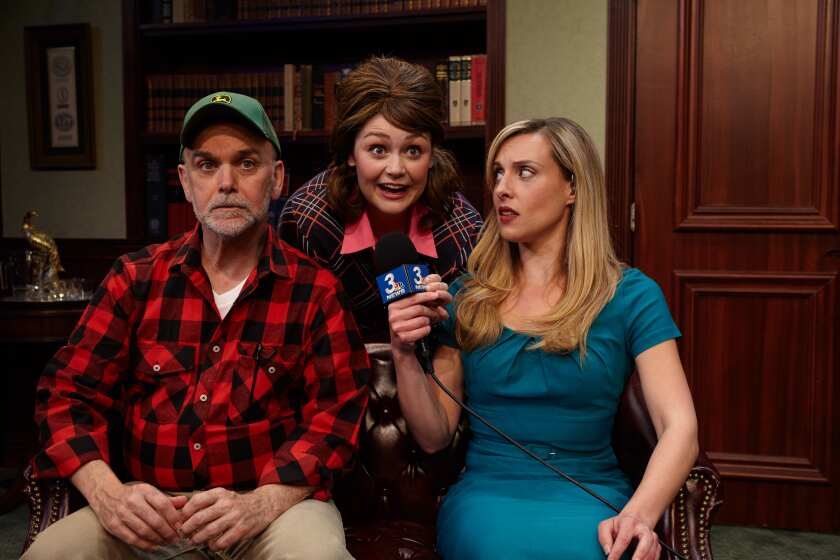 "John Seibert, Jacque Wilke and Natalie Storrs (from left) in North Coast Rep's ""The Outsider."""