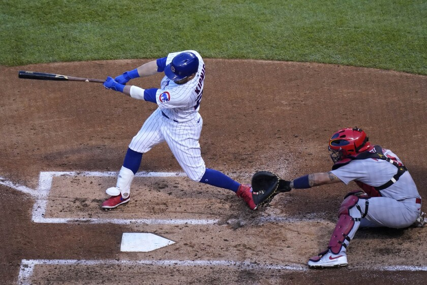 Chicago Cubs' Jason Kipnis hits a two-run home run during the second inning of a baseball game against the St. Louis Cardinals in Chicago, Sunday, Sept. 6, 2020. (AP Photo/Nam Y. Huh)