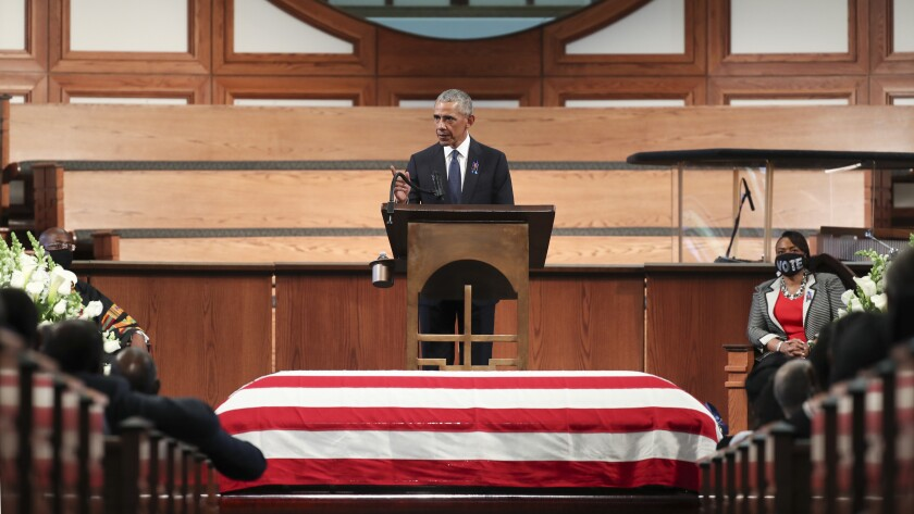 Former President Barack Obama at the funeral for Rep. John Lewis of Georgia at Ebenezer Baptist Church in Atlanta.