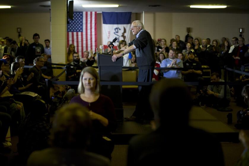 Bernie Sanders speaks in Iowa