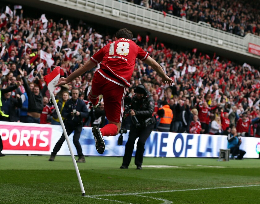 Cristhian Stuani of Middlesbrough reacts after scoring a goal against Brighton during a match on May 7.